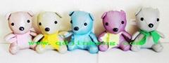 5色彩色反光面料围巾熊填充