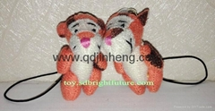 5cm height tiny tiger stuffed mobile chain