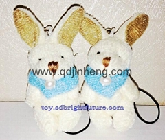 hangng tiny bunny 5cm with blue scarf