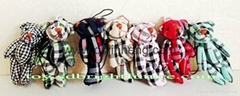 check material stuffed bear keychain