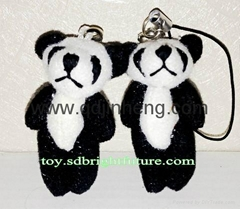 6cm stuffed tiny panda for keys