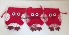 束口棉布袋子配猫头鹰造型