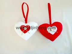 13x10cm red and white heart cloth material