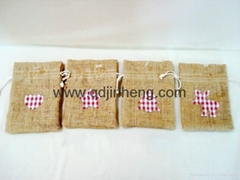 flax material square bag with drawstring top