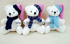 10cm stuffed white bear with knitted cap and scarf