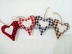 check pattern heart stuffed with hanger