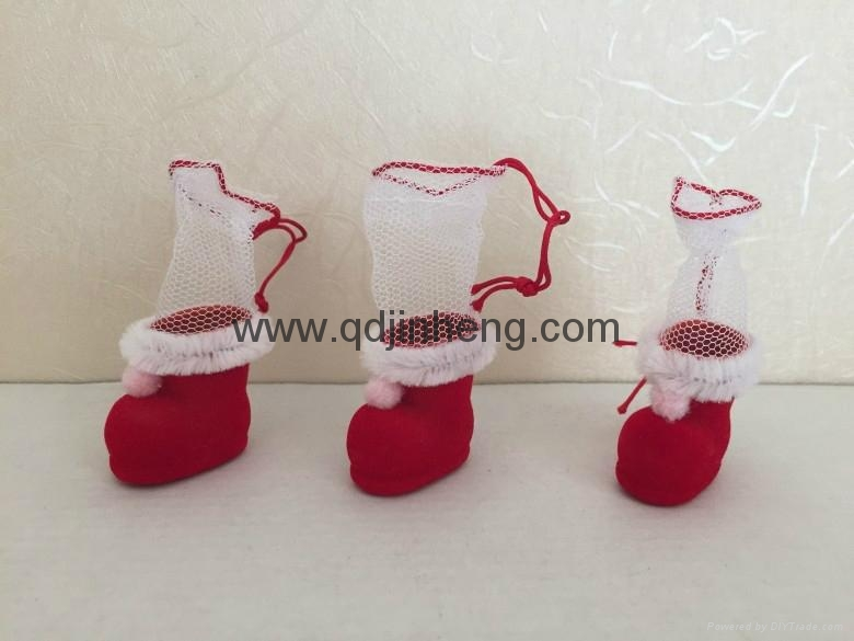 mini Christmas decoration boots with plastic material