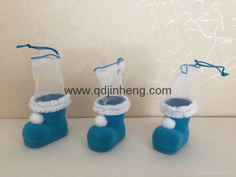 5CM彩色小植绒圣诞靴子装饰品 1