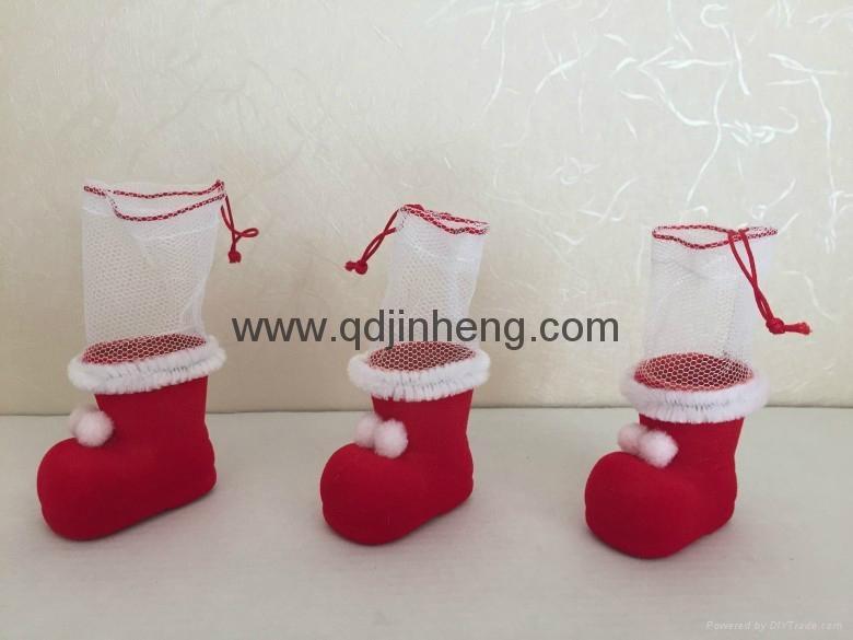 5CM彩色小植絨聖誕靴子裝飾品 2