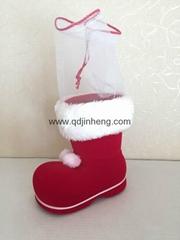14CM紅色植絨聖誕靴子裝飾品