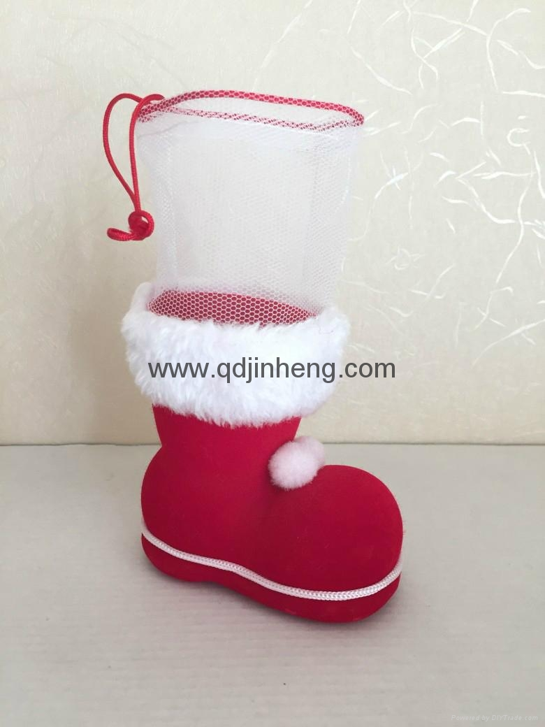 red boots with red pile coating