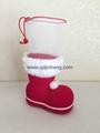 14CM红色植绒圣诞靴子装饰品