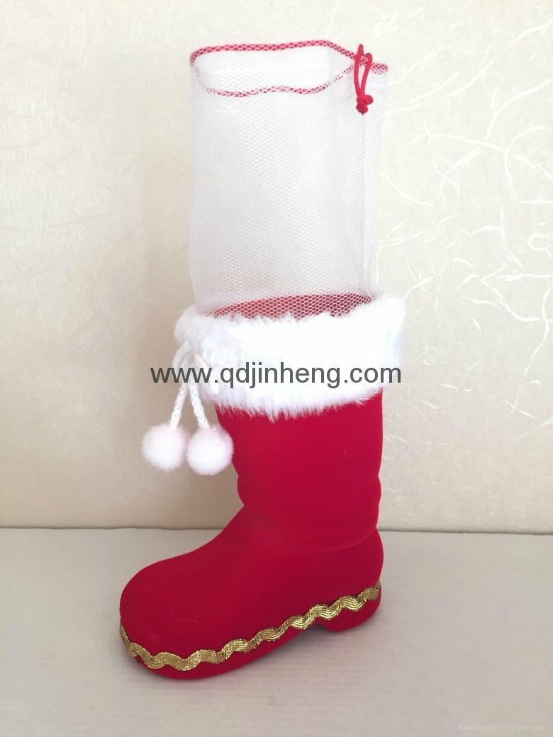 12CM紅色植絨聖誕靴子配網袋 1