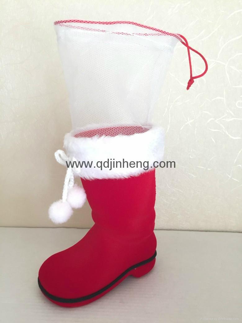 12CM红色植绒圣诞靴子配网袋 2
