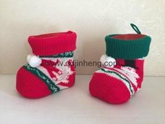 14CM大號聖誕塑料靴子配針織套