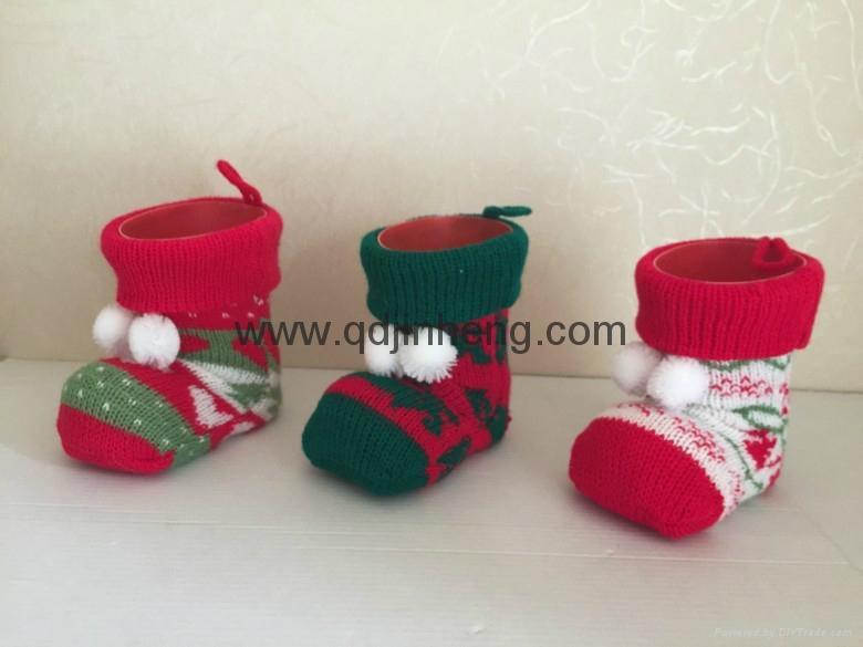 塑料裝飾聖誕靴子配針織套 1