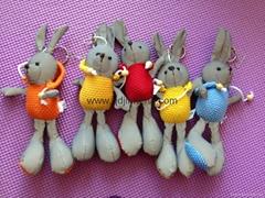 15CM灰色菠萝布大脚兔