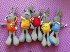 15CM灰色菠蘿布大腳兔