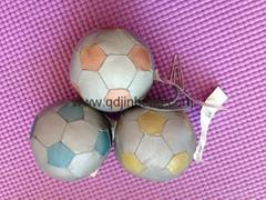 6CM彩色反光面料填充球配钥匙环