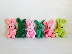 7CM迷你綠色和粉色兔子
