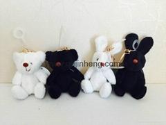 黑白熊和兔子配金色鑰匙環