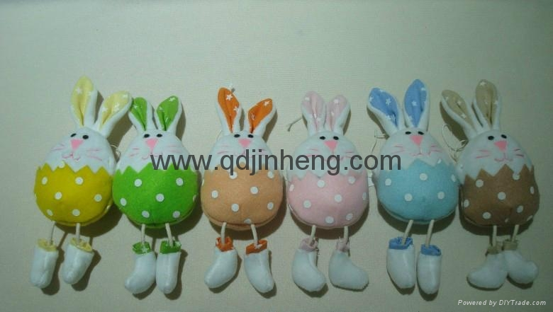 big belly stuffed and long hanging legs bunny in spring color