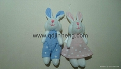 blue male bunny in overcoat and pink femal bunny in skirt