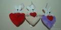 stuffed heart with bunny head sweetly