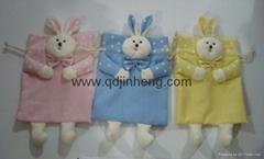 棉布方袋子配兔子頭