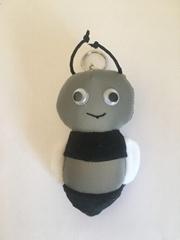 Honeybee key chain of reflective fabric