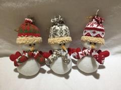 圣诞帽围巾填充雪人