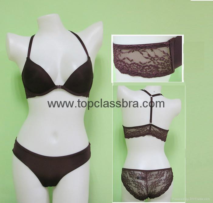 2015 Front Closure Microfiber Lace Underwear Bra with SGS  1