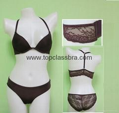 2015 Front Closure Microfiber Lace Underwear Bra with SGS