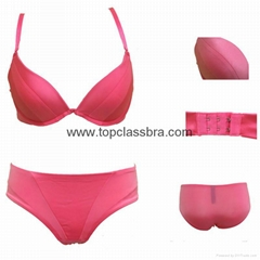 2015 Ladies Soft Satin Push up Lingerie Underwear Set