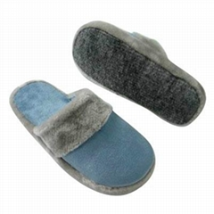 Men Fleece Indoor Slippers with Plush Hair on Mouth