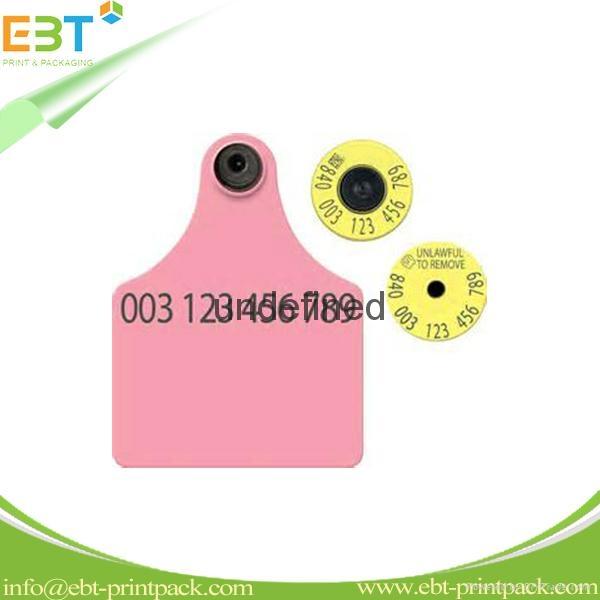 LF 125khz 134.2khz / HF 13.56mhz / UHF 860-960mhz Animal RFID Ear Tag for Cow Ca 1