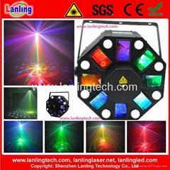 MixLEDLaser 8*3W White LED Strobe + 5*3W RGBWY LED Effect + 150mW RG 12Gobo Lase