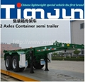 Skeletal container semi trailer from