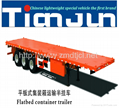 Hot sale 3 axles flatbed container semi