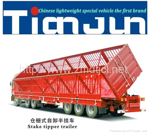 China manufacturer stake semi trailer with dump box  1