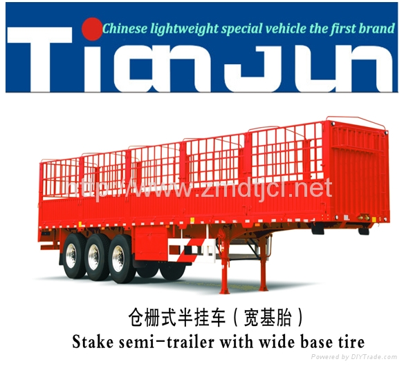 China manufacturer stake semi trailer with dump box  4