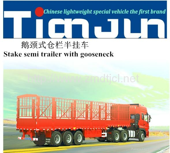 China manufacturer stake semi trailer with dump box  3