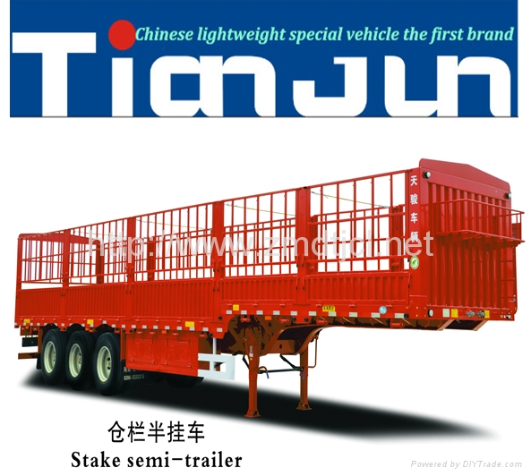 China manufacturer stake semi trailer with dump box  5