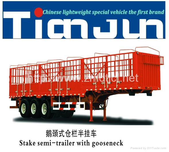 China manufacturer stake semi trailer with dump box  2