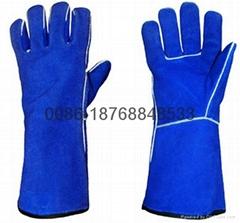 14''AB grade Cow split leather welder gloves with Kevlar thread sewn