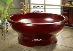 kx-612 big round SPA wooden whirlpool massage bathtub