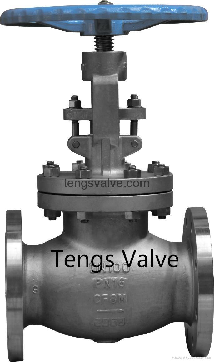DIN standard cast steel straight flanged globe valve 1