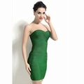 Plain Dyed Above Knee Length Sexy Strapless Green Wedding Dress 1