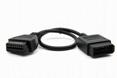 汽車OBD2檢測儀延長線 OBDII 16針 母頭 TO 尼桑 14針 公頭連接線