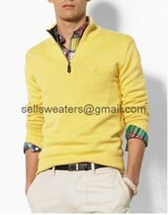 1/4 zip up neck plain knitted handmade mens pullover sweater